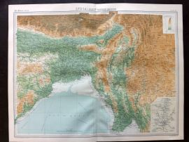 Bartholomew 1922 Large Map. India - North Eastern Section